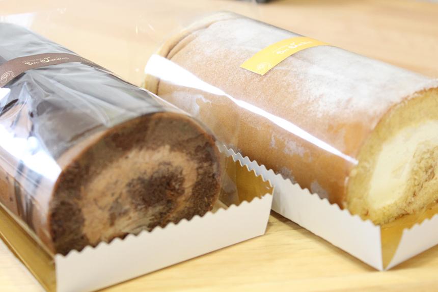 ★ほんわかロール:沖縄の本和香糖を使用した優しい味のふんわりケーキ。(生クリームとカスタード) <br />★やすらぎショコラ:濃厚な生チョコがとろけるようなロールケーキ。表面にはパリッとしたチョコをかけました。
